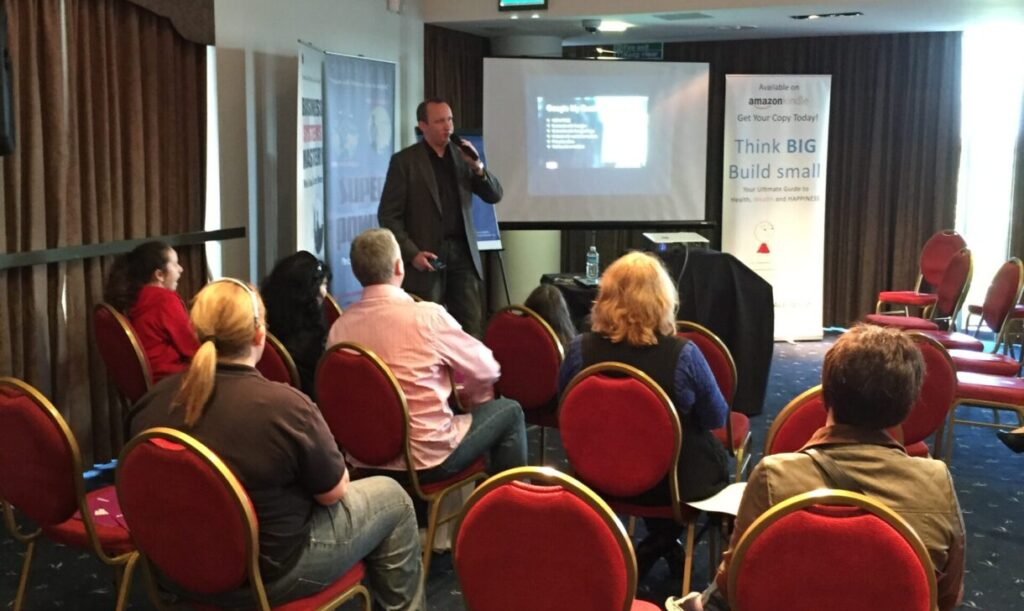 Darren soeaking at a franchise event in Liverpool
